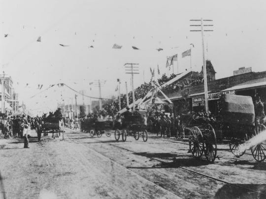 The celebration parade after statehood was announced Feb. 14, 1912.