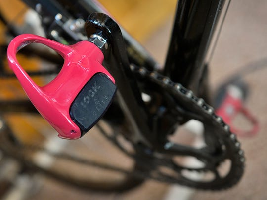 Al Reszel had his pedals painted pink in honor of the ride that he hopes will raise $10,000 for breast cancer research.