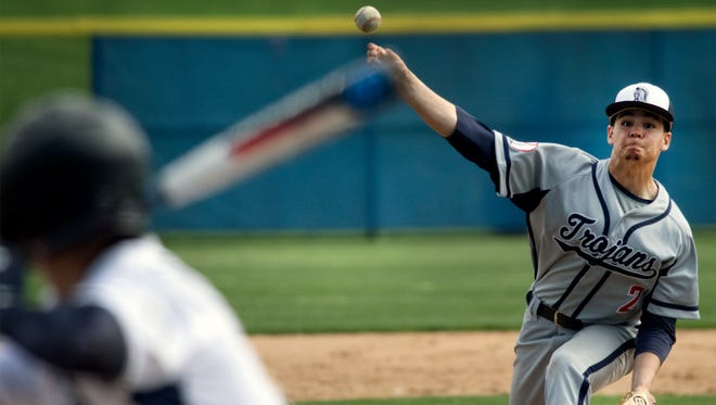 Chambersburg's Austin Kopp pitches for the Trojans. Chambersburg hosted Greencastle at Greene Township Park on Monday, May 7, 2018. The Trojans won 5-4.