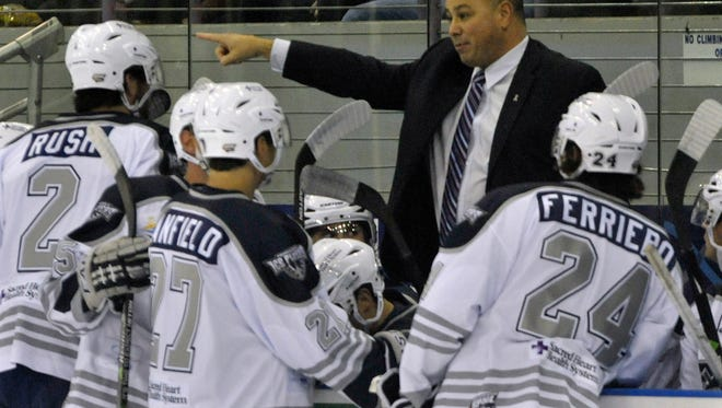 Back behind the bench and with team captain Corey Banfield (27), Rod Aldoff has the Ice Flyers in the right direction after a three-game road swing of wins, including Sunday's 4-1 win at Huntsville.