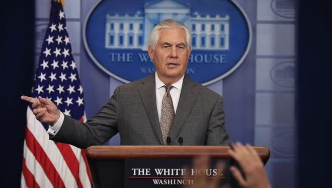 Secretary of State Rex Tillerson speaks about North Korea during the daily press briefing in the Brady Press Briefing Room at the White House, in Washington, Monday, Nov. 20, 2017. (AP Photo/Manuel Balce Ceneta) ORG XMIT: OTKMC107