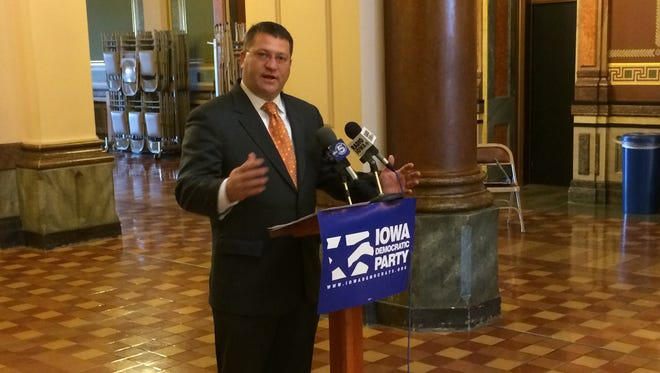 State Sen. Steve Sodders, D-State Center, at a Statehouse news conference today.