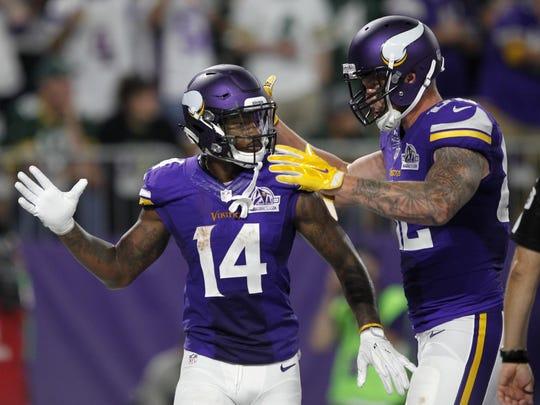 Minnesota Vikings wide receiver Stefon Diggs celebrates