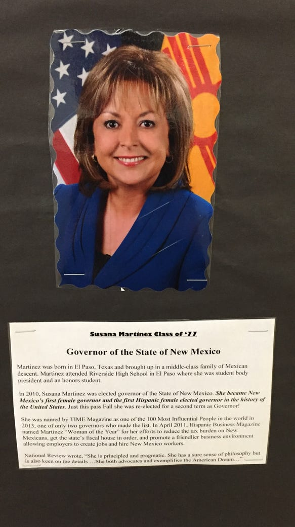 A display at Riverside High School features prominent