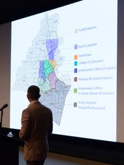 Ryan Pecot of Stirling Properties gives his presentation during the Acadiana Commercial Outlook Seminar in Lafayette April 7, 2016.