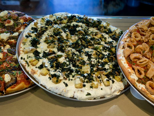 The variety of pizzas made at Mona Lisa Pizza in Jackson