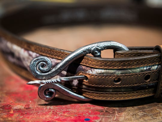 A nearly-finished belt buckle crafted by blacksmith