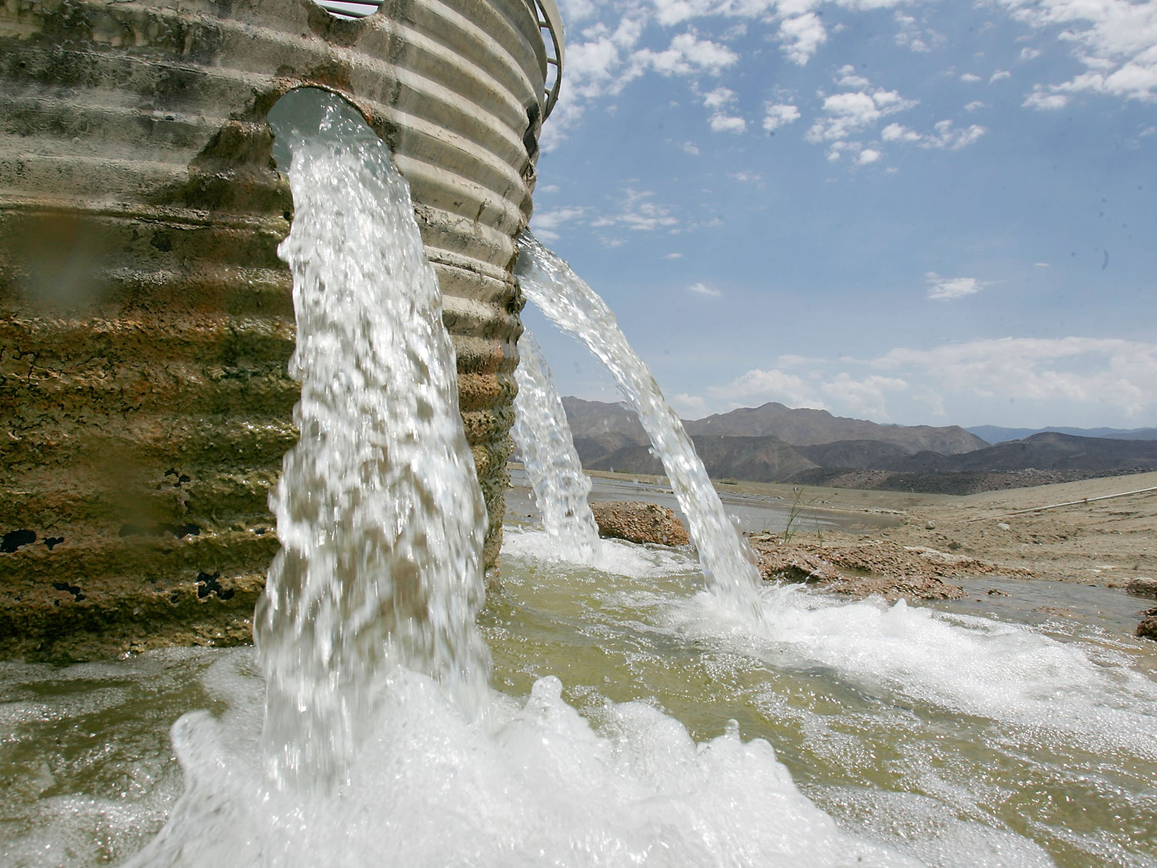 Water from the Colorado River flows into a  pond at the Thomas E. Levy Groundwater Replenishment Facility in La Quinta.