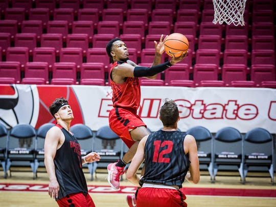 Ball State's Jontrell Walker (1) practices with teammates at Worthen Arena Saturday, Sept. 30, 2017.