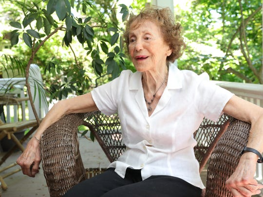 Glynne Hiller, 94, just published a memoir, Passport to Paris, which is a remembrance of Hiller's adventures as a young single mother living in Paris with young daughter Catherine. Mamaroneck on Thursday, May 24, 2018.