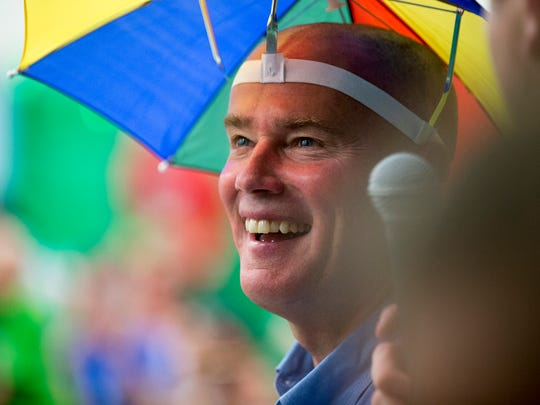Joe Hogsett laughs as he dons a goofy hat following a hair clipping at Jack Klein day, an event raising money for childhood cancer to honor Klein, a local boy who died in from the disease, Indianapolis, Saturday, June 2, 2018. The head-shaving event is coupled with St. Baldrick's Foundation.