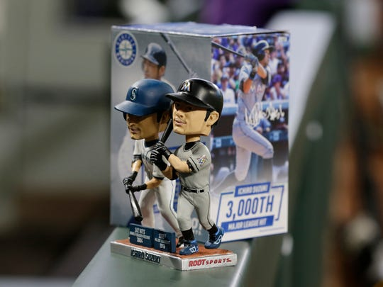 A dual bobblehead showing the Miami Marlins' Ichiro