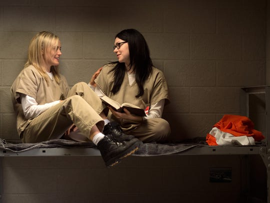 "In this image released by Netflix, Taylor Schilling, left, and Laura Prepon appear in a scene from ""Orange is the New Black."" The program was nominated for an Emmy Award on Thursday, July 16, 2015, for outstanding drama series.  The 67th Annual Primetime Emmy Awards will take place on Sept. 20, 2015."