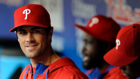 Philadelphia Phillies starting pitcher Cole Hamels is seen during a baseball game against the Milwaukee Brewers on Thursday, April 10, 2014, in Philadelphia. (AP Photo/Michael Perez)