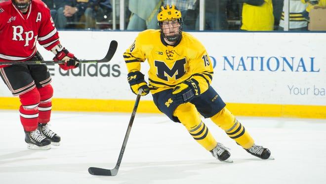 Michigan forward Dylan Larkin skates against Rensselaer in November 2014.