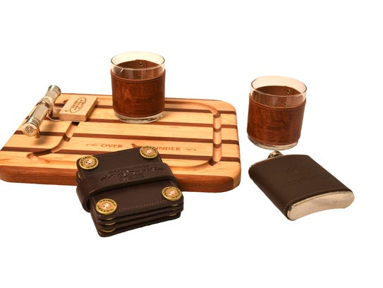 Cutting board and leather coaster set available at