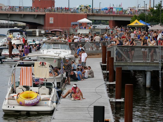 CityDeck along the Fox River was jammed watching the