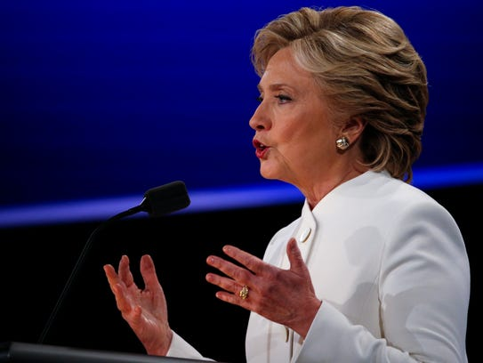 Hillary Clinton speaks during the third and final presidential