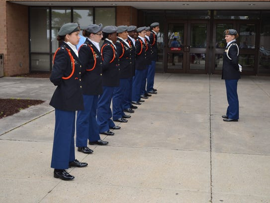 Members of the Wicomico County Jr. ROTC stand at attention