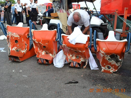 The four seats from the gondola that broke off the