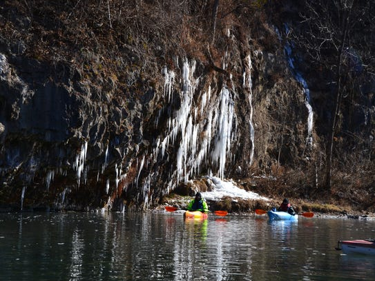 Paddlers braved single-digit temperatures during Monday's float on the Current River.