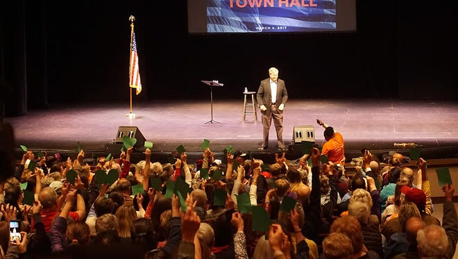 Attendees raise their red and green cards up as U.S. Sen. Lindsey Graham answers questions at his town hall meeting Saturday at Clemson University.