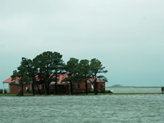 With high tide approaching it gives the illusion the the American Legion on Lori Quinn Dr. is an Island.