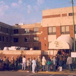 Students line up to register for the first semester of classes for OTC at Cox North in 1991.
