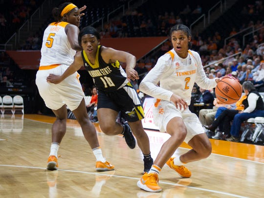 Tennessee's Evina Westbrook is defended by Alabama