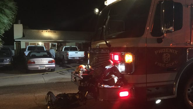 A family of three fled their Phoenix home early Thursday morning after a fire broke out in what appeared to be a storage area, according to Phoenix Fire Department.