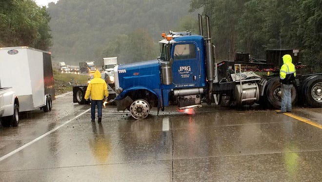 A jackknifed tractor-trailer at mile marker 92.8 on Interstate 81 in Swatara Township caused state police to shut down the northbound lane at exit 90 at about 9 a.m. Thursday morning.