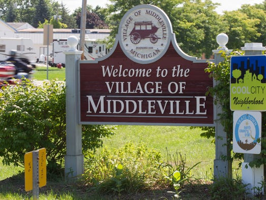 Village of Middleville welcome sign