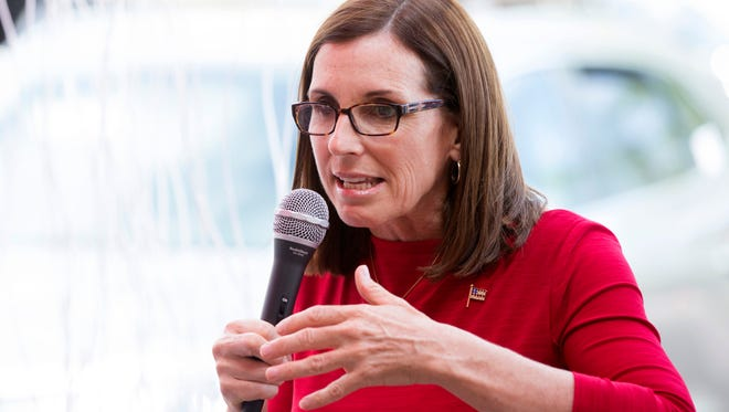 U.S. Rep. Martha McSally, a Republican vying for her party's U.S. Senate nomination, speaks during a campaign pitch to the Palo Verde Republican Women at Lush Burger in Scottsdale on May 20, 2018.