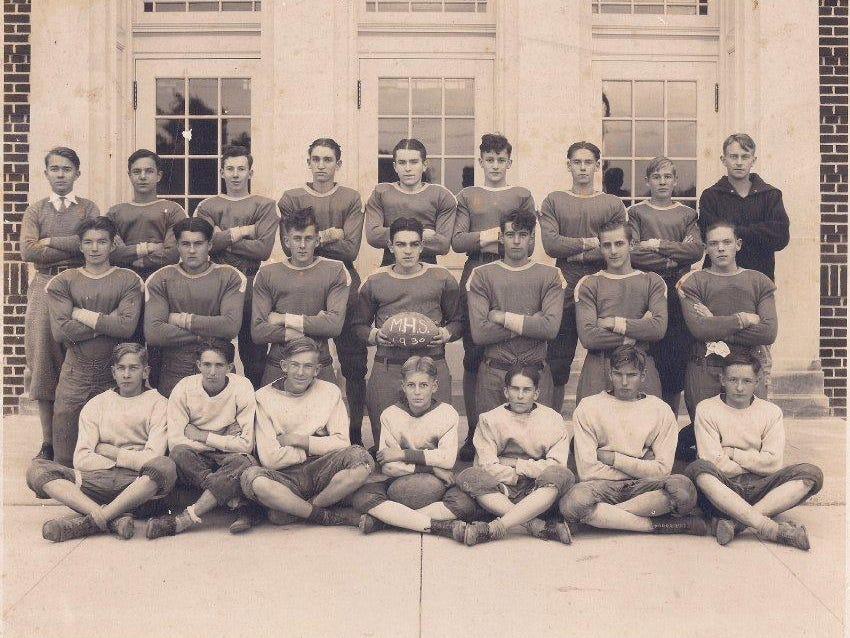 The 1930 Milford High School football team coached by Andy Bowdle.