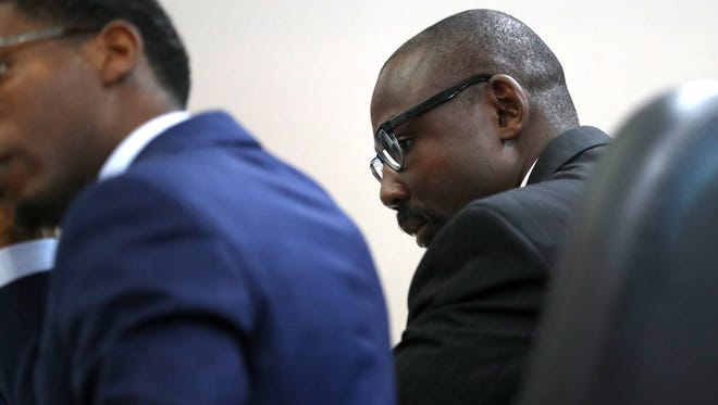 Vincent Crump, an ex-Tallahassee Police officer who is accused of raping a woman during a roadside traffic stop, stands trial at the Leon County Courthouse on Wednesday, Aug. 29, 2018.