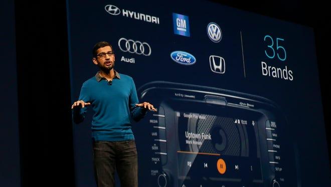 Sundar Pichai, senior vice president of Android, Chrome and Apps, speaks during the Google I/O 2015 keynote presentation in San Francisco.
