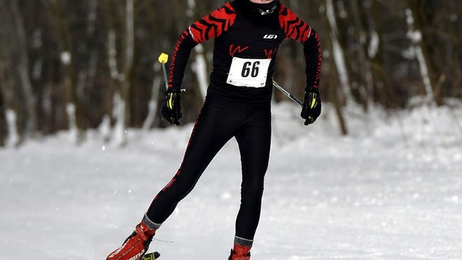 This is a 2016 file photo of Colton Martin competing in the 2015-16 Highmark Quad Games ski race during the event at Wilderness Lodge  in Venango Township.