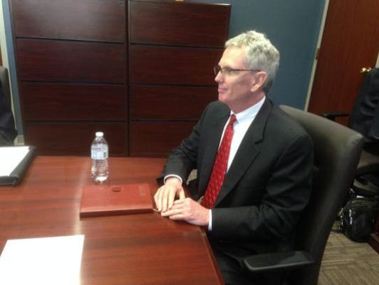 This file photo shows Craig Tindall sitting for an interview with the Murfreesboro Council before he accepted an offer from the council to replace City Attorney Susan McGannon before she retired Nov. 1, 2015.