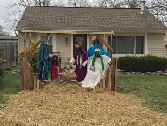 Zombie nativity scene outside Sycamore Township home