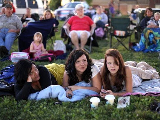 Moonlight Movie-goers in Downtown Muncie's Canan Commons.