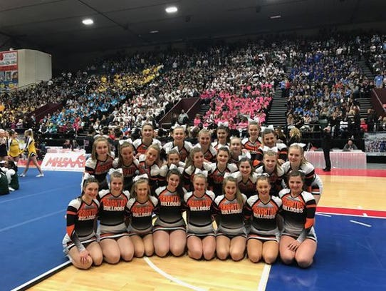 The Brighton competitive cheer team went to the state