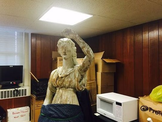 The Lady of Justice statue that used to stand at the