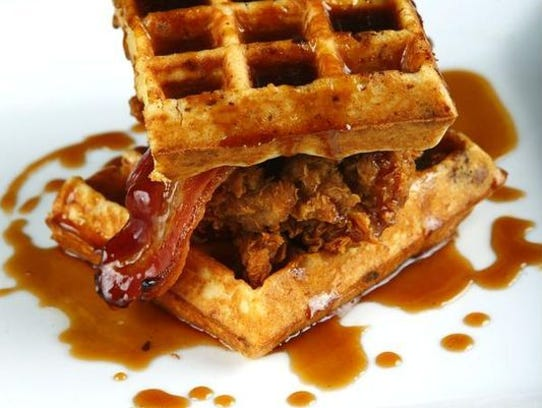 Chicken, waffles and bacon prepared by chef Bradley