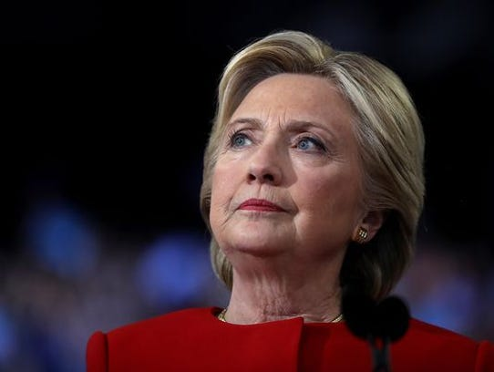 Hillary Clinton speaks during a campaign rally at North