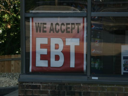 """We accept EBT"" sign in Chesterfield."