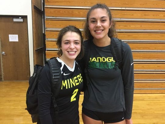 Mary Redl-Harge, right, from Bishop Manogue, is the