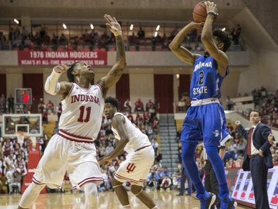 Jordan Barnes of Indiana State University puts up a