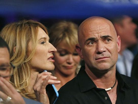 Former tennis great Andre Agassi, pictured here with