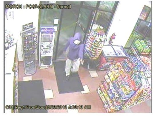 In this surveillance camera image, a man can be seen