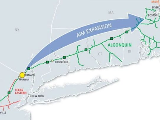 A map of the Algonquin pipeline expansion project